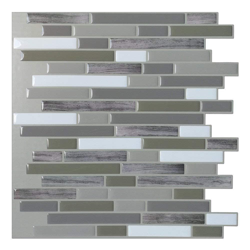 "12""x12"" Anti-mold Peel and Stick Backsplash Tile for Kitchen(6 Sheets)"