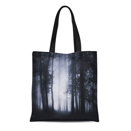 KDAGR Canvas Tote Bag Dark Forest Landscape Woodland at Night Spooky Halloween Atmosphere Durable Reusable Shopping Shoulder Grocery Bag - Halloween Stores In The Woodlands