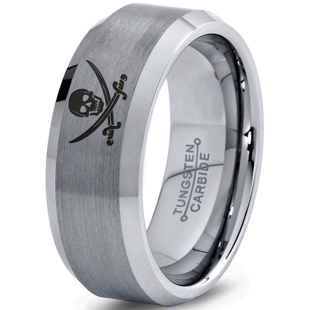 Zealot Jewelry Tungsten Skull Crossbones And Swords Band Ring 8mm Men Women Comfort Fit Gray Bevel Edge Brushed Polished Walmart Com Walmart Com