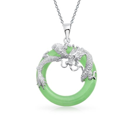 Asian Style Dragon Round Open Circle Disc Dyed Green Jade Pendant 925 Sterling Silver Necklace For Women 18 (Jade Pendant Chain)