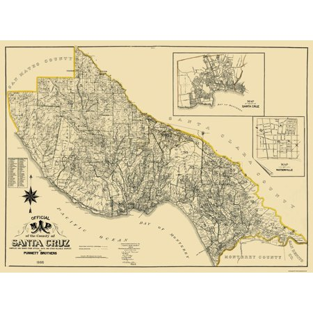 Santa Cruz California Map.Old County Map Santa Cruz California Landowner Punnett 1906 31 X 23