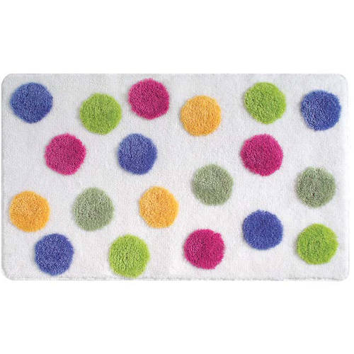 InterDesign Glee Bathroom Shower Accent Rug, Polka Dot, Multi Color