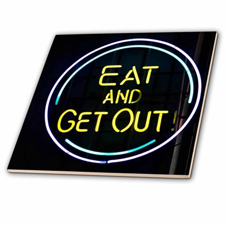 3dRose Illinois, Chicago. Humorous neon sign at a diner - US14 BJA0055 - Jaynes Gallery - Ceramic Tile, 12-inch