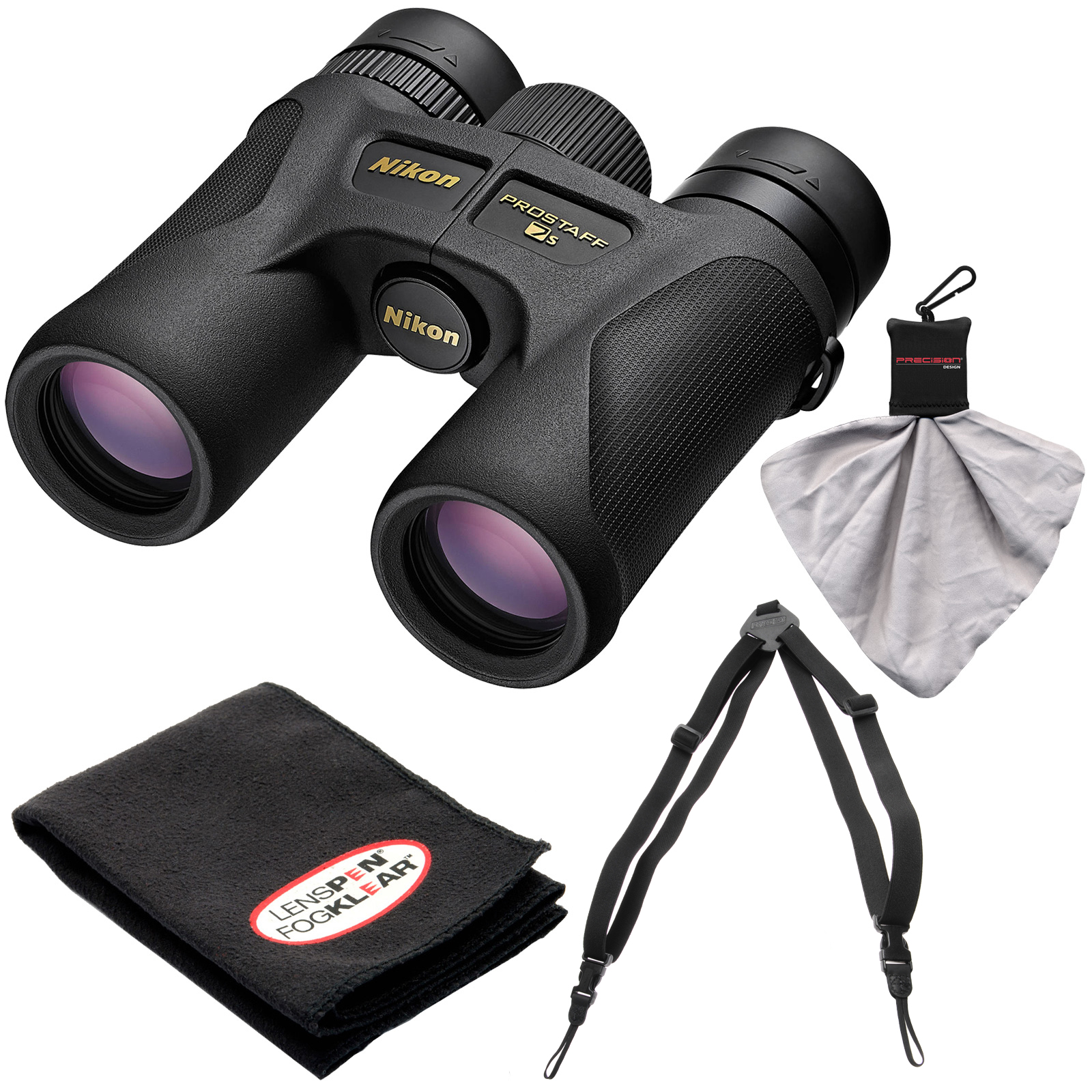Nikon Prostaff 7S 10x30 ATB Waterproof/Fogproof Binoculars with Case + Easy Carry Harness + Cleaning Cloth Kit