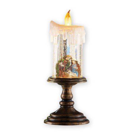 (Nativity Scene Christmas Snow Globe Candle Decoration)