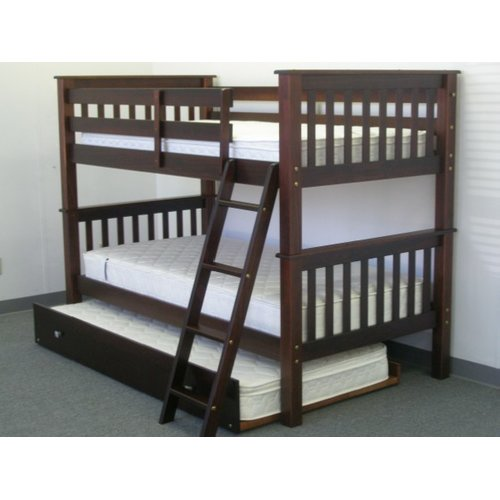 Bedz King Twin Over Twin Bunk Bed with Twin Trundle