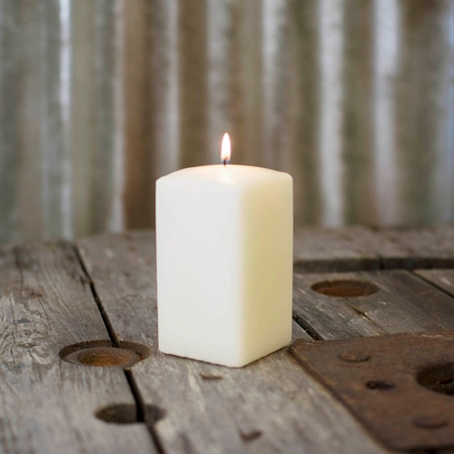 Event Decor Pillar Candle 2.75 x 5 in. Patrician Square Unscented Wax Ivory