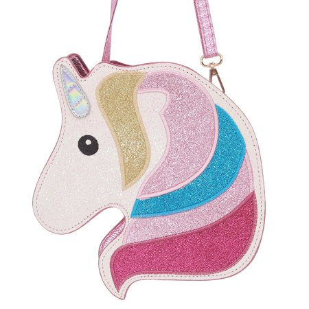 HDE 3D Glitter Unicorn Crossbody Purse Bag for Teens Girls Women Novelty Handbag (Pink