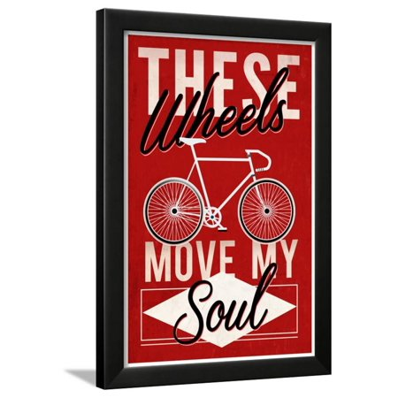Cycling Moves My Soul - Screenprint Style Framed Print Wall Art By ...