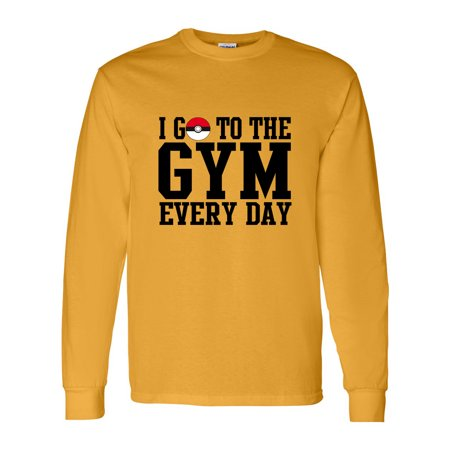 Pokemon I Go To The Gym Everyday Youth Boys Girls Long Sleeve Tee T-Shirt (Game Boy Pokemon Gold)
