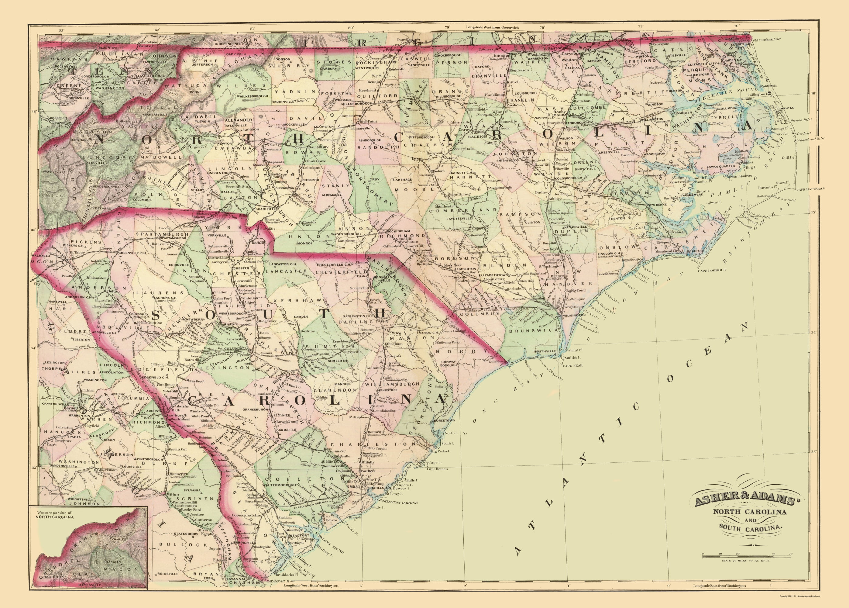 Old State Map North Carolina South Carolina Asher 1872 23 X
