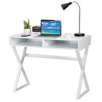 Topbuy Writing Desk Makeup Vanity Table Modern Computer Desk With 2 Storage Compartments