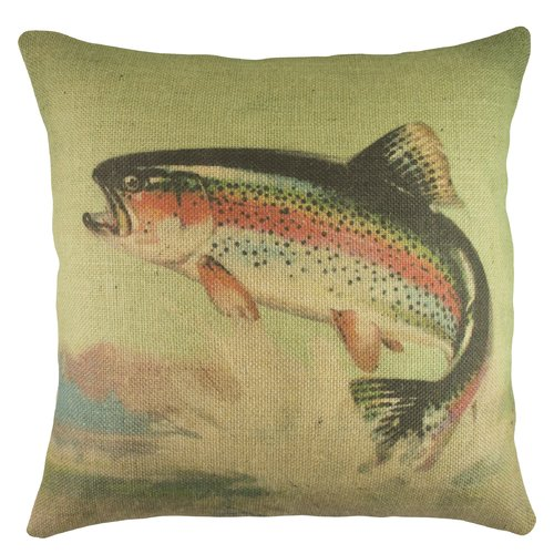 TheWatsonShop Rainbow Trout Burlap Throw Pillow