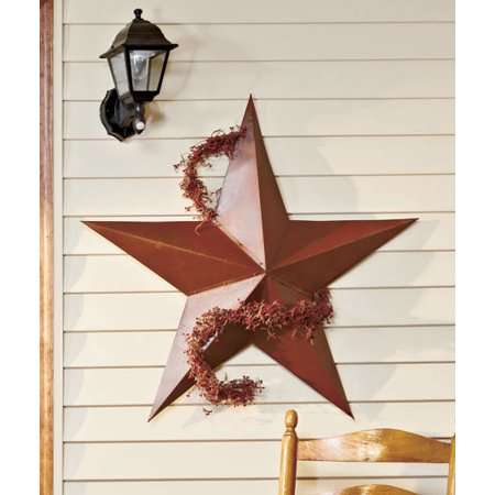 "3D Large 36"" Rustic Western Amish Texas Americana Style Barn Star Wall Hanging or Stake in Ground Patio Garden Yard Deocration"