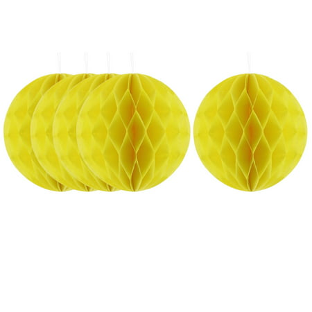Party Lantern Design Tree Hanging Decor Honeycomb Ball Yellow 6 Inch Dia 5pcs - Party Lanterns