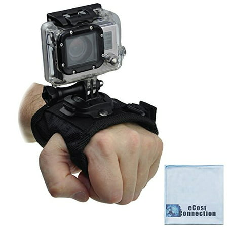 Rotating Wrist Strap Mount for GoPro HERO1, HERO2, HERO3, 3+, HERO4, HERO5 Cameras + eCostConnection Microfiber