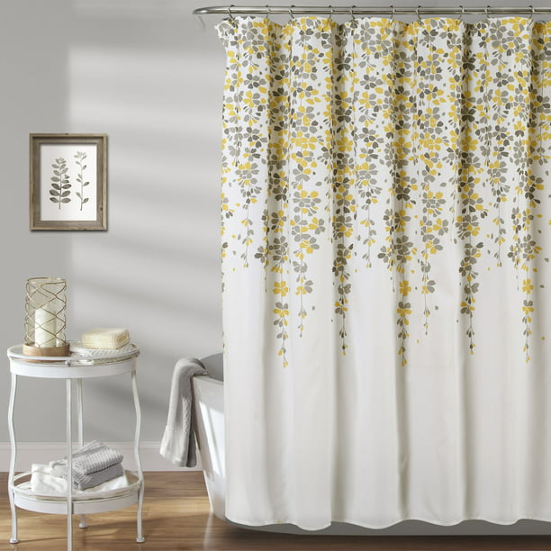 Lush Decor Weeping Flower Shower, Shower Curtains Gray And Yellow