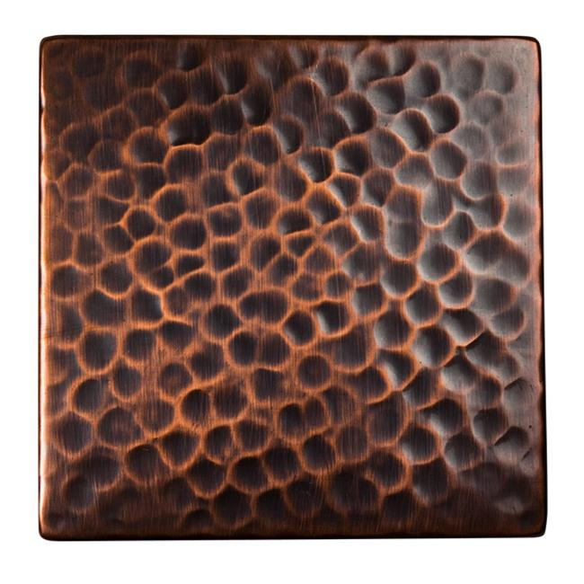 The Copper Factory Solid Hammered Copper 4'' x 4'' Decorative Accent Tile in Antique Copper