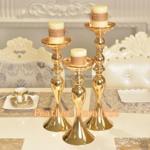 Wedding Flower Floral Stand /Pillar Candle Holder Feather Ball Centerpiece Stand Reversible- Gold 15 inch - Feather Centerpieces