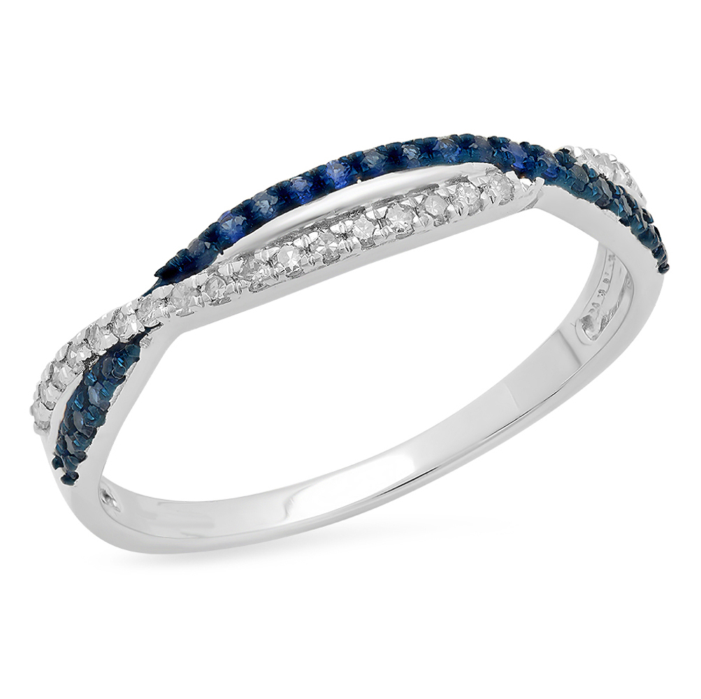 Dazzlingrock Collection 14K Round White Diamond /& Blue Sapphire Ladies Anniversary Wedding Stackable Band Swirl Ring White Gold