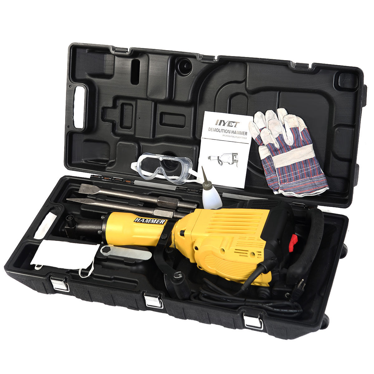 GHP 3600W 1400RPM Yellow Electric Demolition Hammer Concrete Breaker w Swivel Handle