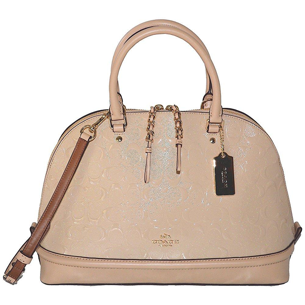coach sierra dome satchel in signature debossed patent leather f55449 platinum