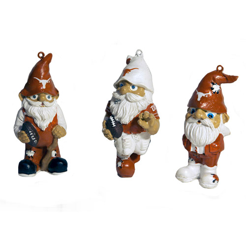 Forever Collectables NCAA Gnome Christmas Ornament Set, University of Texas Longhorns, 3pk