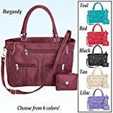 - Zippered 6 Pocket Microfiber Handbag Black