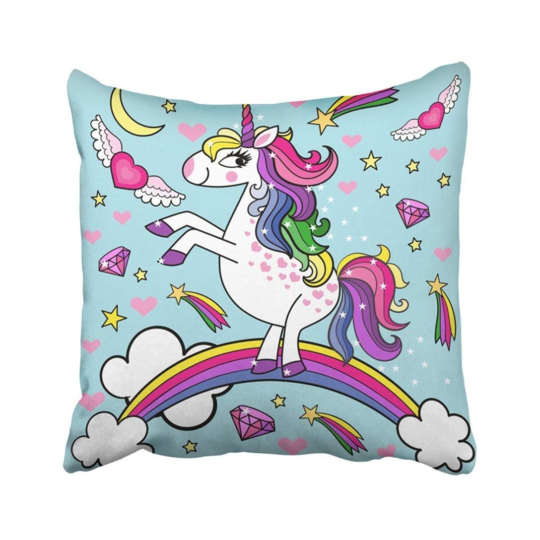 BPBOP Colorful Pony Cute Little Unicorn Pink Animal Baby Badge Birthday Cartoon Children Cloud Pillowcase Throw Pillow Cover 18x18 inches
