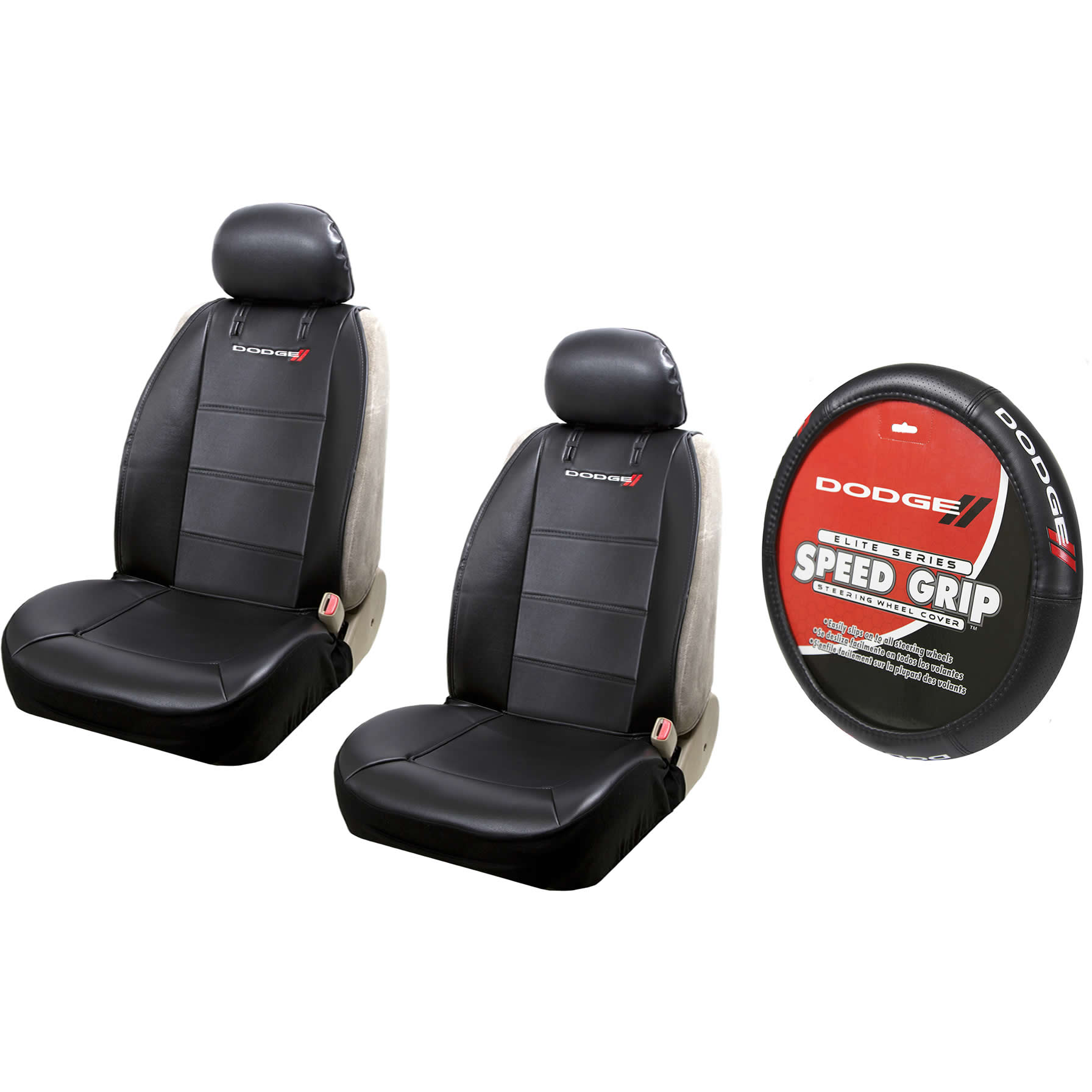 2 Dodge Elite Synthetic Leather Sideless Seat Covers & Steering Wheel Cover Set Car Truck SUV