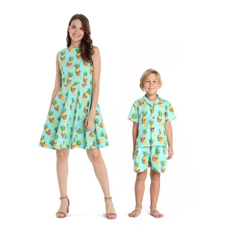 Matching Mother Son Hawaiian Luau Outfit Women Vintage Dress Boy Shirt Shorts Halloween Pineapple Skull M-6