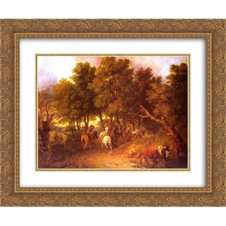 Thomas Gainsborough 2x Matted 24x20 Gold Ornate Framed Art Print 'Pesants Returning from Market' - Gainsborough Halloween Market