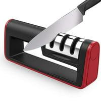 Knife and Scissor Sharpener, 2019 NEW Kitchen Knife Sharpener, 3-Stage Knife Sharpening System, Non-slip Base Kitchen Knife Sharpener, Easy to Use, Red, I3615