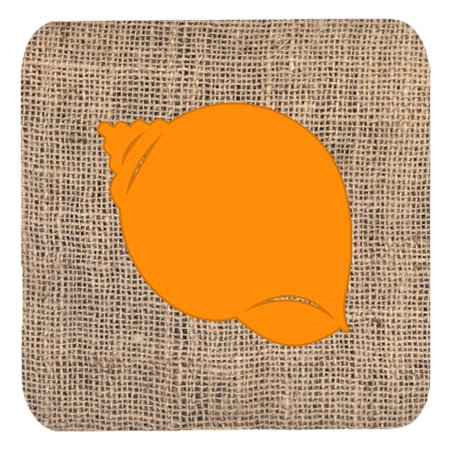 Bb Shell Set - Set of 4 Shell Burlap and Orange Foam Coasters