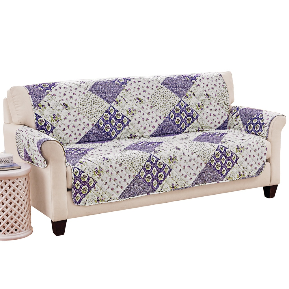 Wilmington Floral Patchwork Quilted Furniture Protector Cover, Sofa, Lilac