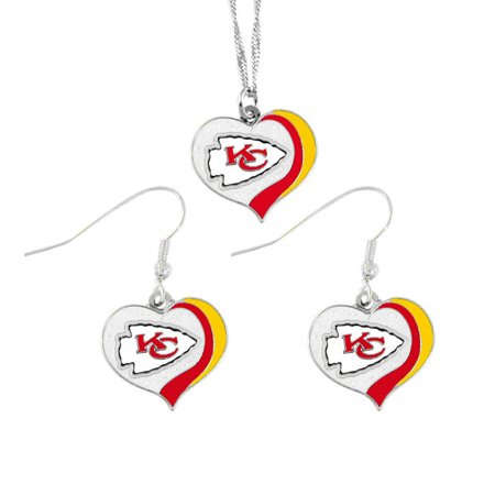 NFL Kansas City Chiefs Sports Team Logo Glitter Heart Necklace and Earring Set Charm Gift - image 1 de 1