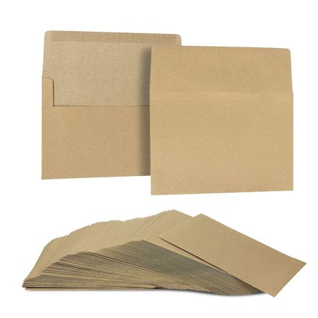 A7 Envelopes for Invitations - 100-Count A7 Invitation Envelopes Bulk, Kraft Paper Envelopes for 5 x 7 Inch Photos Wedding, Baby Shower, Party Invitations, Square Flap, Brown, 5.25 x 7.25 (A7 Pointed Flap Envelope)