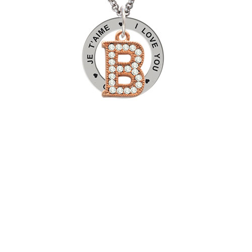 Crystal Rose Gold Tone Initial - B - I Love You Je T'aime Te Amo Affirmation Ring Necklace