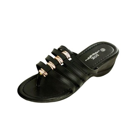 df957a32b Bulk Buys - Bulk Buys OL225-2 Black Strappy Wedge Sandals with Gold Accents