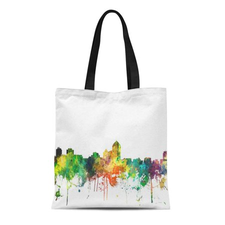 ASHLEIGH Canvas Tote Bag United Albuquerque Nm Skyline States Skylines City Watercolour Urban Reusable Handbag Shoulder Grocery Shopping Bags](Party City Albuquerque Nm)