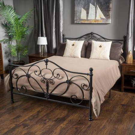 Wrought Iron Bed - San Luis Queen Charcoal Iron Bed