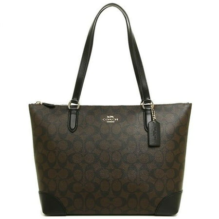 NEW WOMEN'S COACH (F29208) SIGNATURE BROWN LEATHER ZIP TOP TOTE BAG - Burberry New Style Handbag