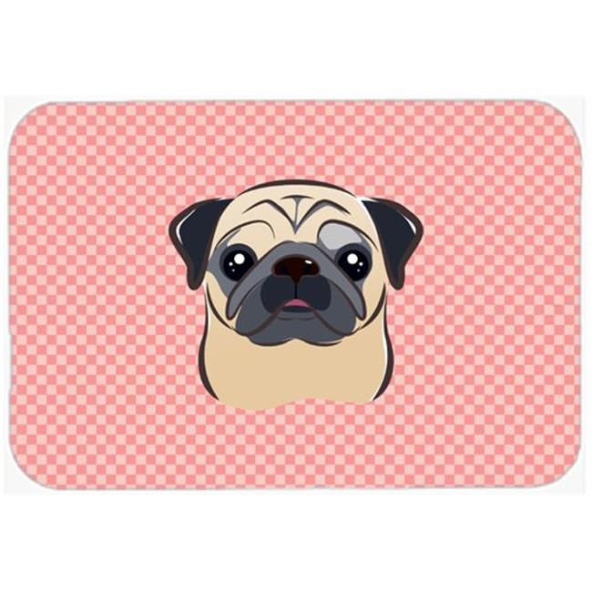Checkerboard Pink Fawn Pug Mouse Pad, Hot Pad Or Trivet, 7.75 x 9.25 In.