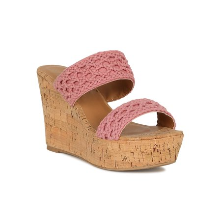 Women Crochet Open Toe Mule Cork Platform Wedge Sandal 18755