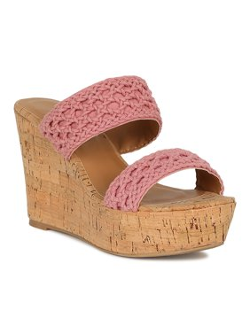 db0b04297 Product Image Women Crochet Open Toe Mule Cork Platform Wedge Sandal 18755