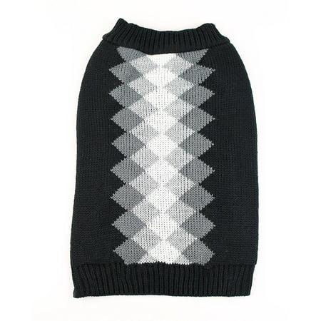 Argyle Dog Sweater by Midlee (Large, Black)