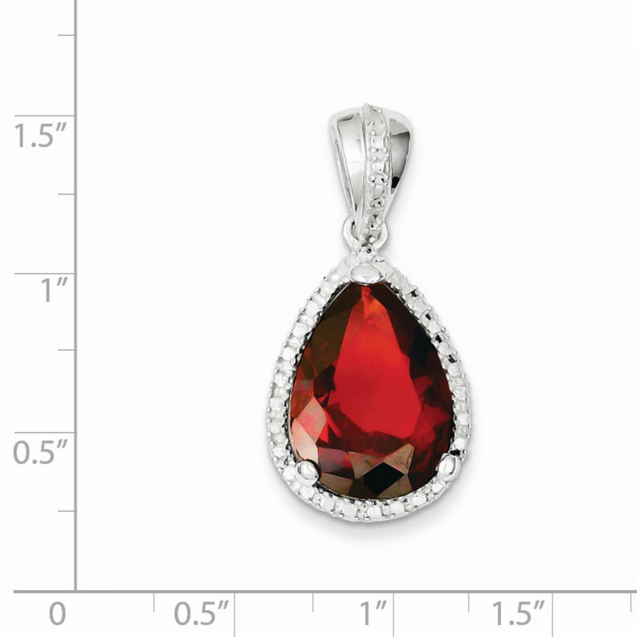 925 Sterling Silver Pearshape Red Cubic Zirconia Pendant - image 1 of 2