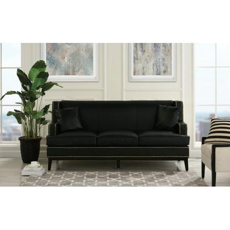 Mobilis Modern Soft Bonded Leather Sofa with Nailhead Trim Detail, Black Modern Black Leather Sofa