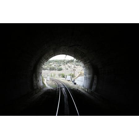 Train Mountain Railroad - Canvas Print Train Light Railway Crimea Tunnel Mountain Stretched Canvas 10 x 14