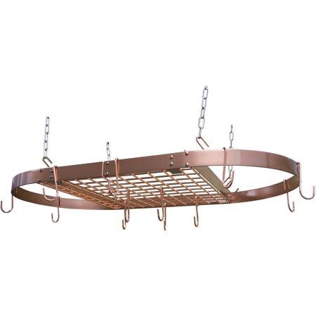 Low Ceiling Oval Pot Rack - Range Kleen 24-Piece Copper Plated Oval Pot Rack